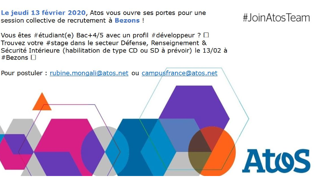 JOIN ATOS TEAM ! Session de recrutement le 13/02 à Bezons - Etudiants